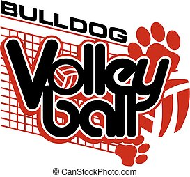 bulldog volleyball design with paw prints and net