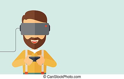 Man with virtual reality headset - A caucasian wearing with...