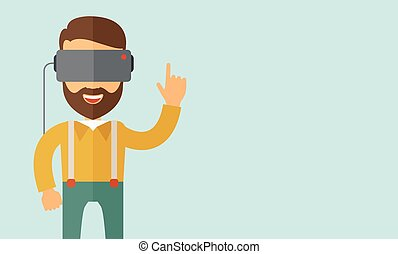 Man with virtual reality headset - A man with isometric...