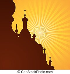 church.eps - Spires of a church in silhouette on the bright...