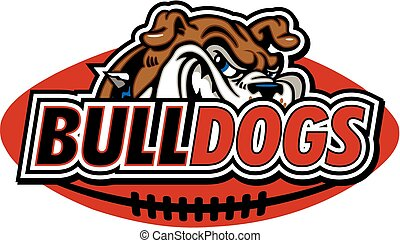 bulldog football design with mascot face and football in the...