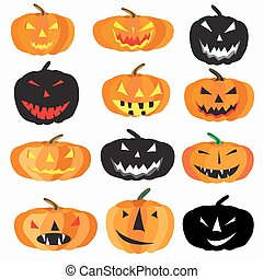 Halloween is a collection of 9 characters pumpkin on a white...