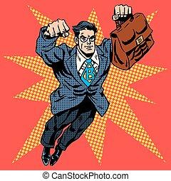 Businessman superhero work flight business concept retro...