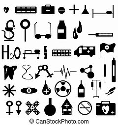 Medicine symbols collection vector illustration