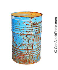 old metal blue barrel oil isolated on white background, with...