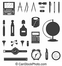 office supplies symbols vector illustration