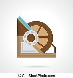 Flat color winch machine vector icon - Flat color design...