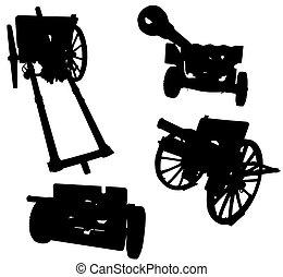 Quatro, artilharia, arma, silhuetas, isolado, branca