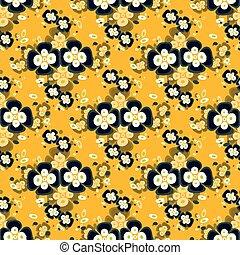 black flowers on yellow background seamless pattern
