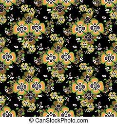 orange flowers on a black background seamless pattern
