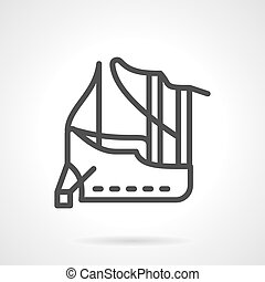 Abstract line vector icon for mooring - Ship moored in...
