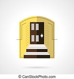 Entrance of house flat color vector icon