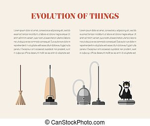 Evolution page - Evolution of cleaning devices: a broom, a...