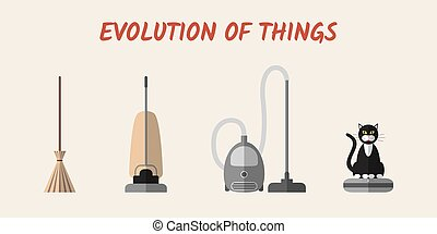 Evolution of cleaning devices: a broom, a retro hoover, a...