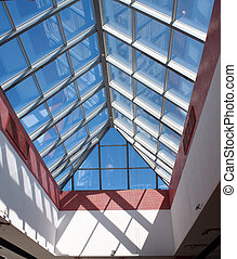 Transparent roof of the shopping center of the glass