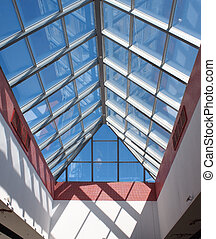 View from below the transparent roof of the glass