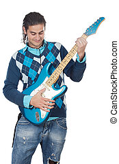 Young playing electric guitar