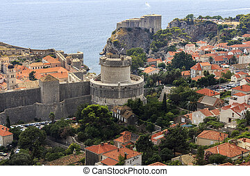 Minceta Tower and fortress Lovrijenac built upon a 37 meter...