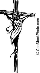 Jesus Christ - Woodcut style expressionist image of Jesus...
