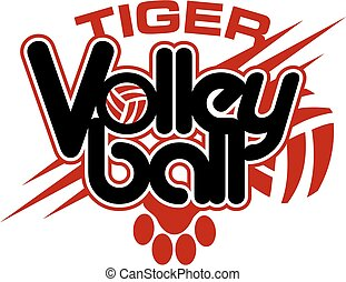 tiger volleyball design with paw print and ball