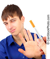 Teenager Stop smoking - Teenager refuse Cigarette on the...