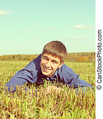 Happy Teenager in the Field - Toned Photo of Happy Teenager...