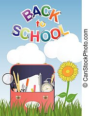 schoolbag  - illustration of school bag on grass with flower