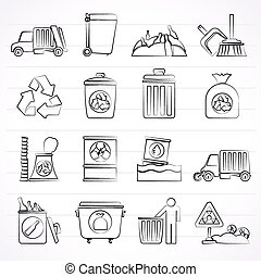 cleaning and rubbish icons - Garbage, cleaning and rubbish...