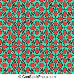 green flower petals on a red background seamless pattern