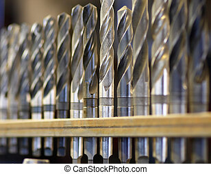 Drill bits - Close up of heavy duty industrial drill bits,...