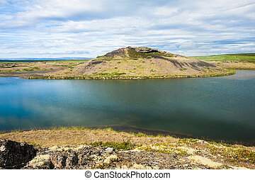 Pseudocraters - View at pseudocraters near the lake Myvatn -...