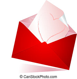 Love letter - Vector illustration of red envelope with love...