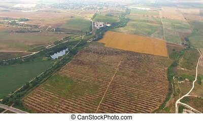 Harvest Fields And Hilly Terrain Birds Eye - PANORAMA:...