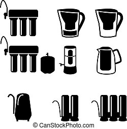 Set of water filter icon