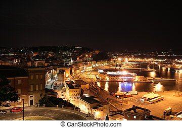 The night view of the italian city Ancona