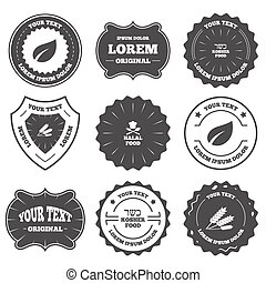 Natural food icons Halal and Kosher signs - Vintage emblems,...