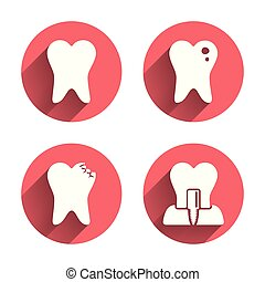 Dental care icons Caries tooth and implant - Dental care...