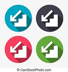 Downstairs icon Down arrow sign Circle buttons with long...