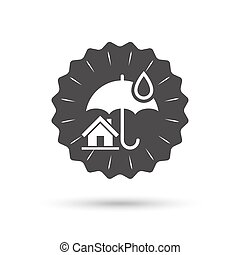Home insurance sign icon Real estate insurance - Vintage...