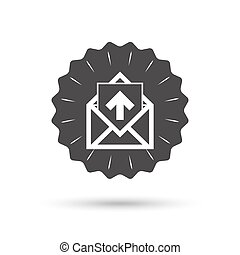 Mail icon. Envelope symbol. Outbox message sign - Vintage...
