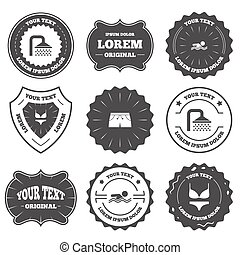 Swimming pool icons Shower and swimwear signs - Vintage...