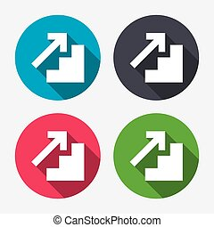 Upstairs icon Up arrow sign Circle buttons with long shadow...