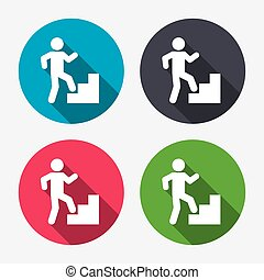 Upstairs icon Human walking on ladder sign Circle buttons...