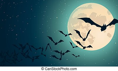 Vector Halloween background with illustration of flying bats...