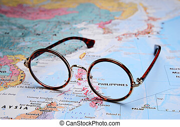 Glasses on Asia map - Philippines