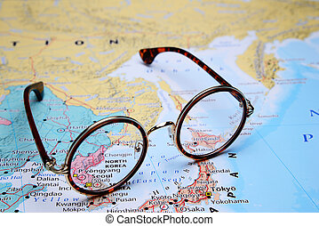 Glasses on Asian map - Pyongyang - Photo of glasses on a map...