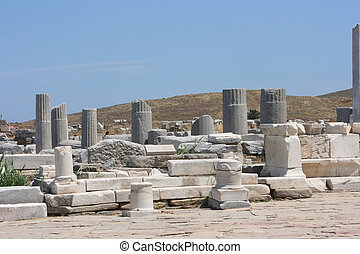 archaeology - ruins of the Stoa of Philip in Delos, Greece