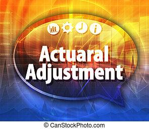 Actuarial Adjustment Business term speech bubble...