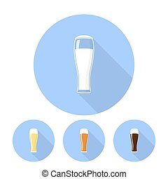 A glass of beer icons with shadow