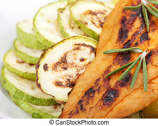 cocido al horno, pescado blanco, con, naranja, jugo,